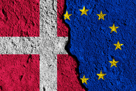 Crack between European union and Denmark flags. political relationship concept