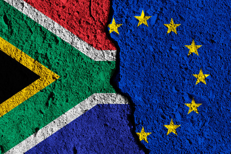 Crack between European union and South Africa flags. political relationship concept Stock Photo