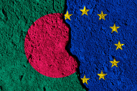 Crack between European union and Bangladesh flags. political relationship concept