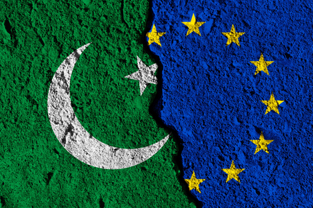 Crack between European union and Pakistan flags. political relationship concept Stock Photo