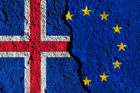 Crack between European union and Iceland flags. political relationship concept