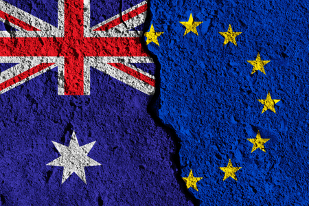 Crack between European union and Australia flags. political relationship concept Stock Photo