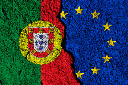 Crack between European union and Portugal flags. political relationship concept