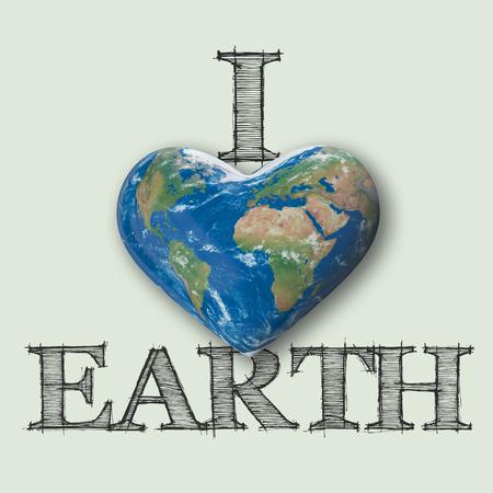 I love earth, world heart message, 3D Rendering