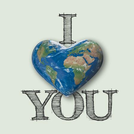 I love you world heart message, 3D Rendering Stock fotó