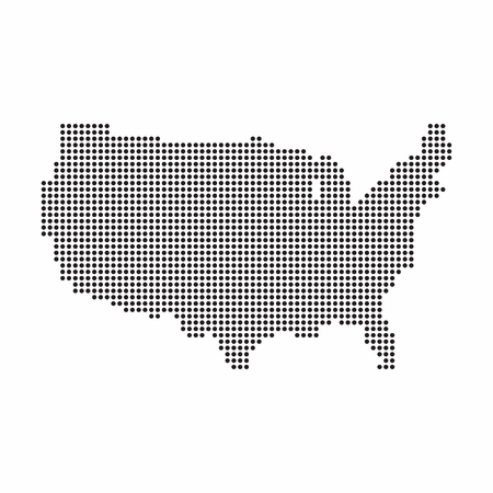 USA country map made from abstract halftone dot pattern.