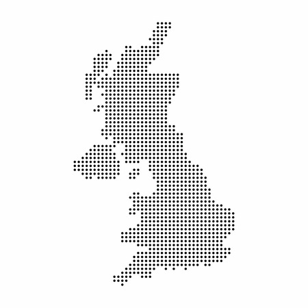 UK country map made from abstract halftone dot pattern
