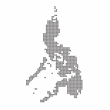 Philippines country map made from abstract halftone dot pattern.