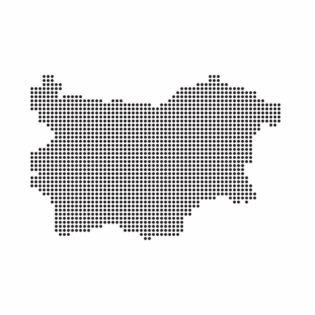 Bulgaria country map made from abstract halftone dot pattern