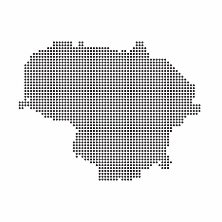 Lithuania country map made from abstract halftone dot pattern. Иллюстрация