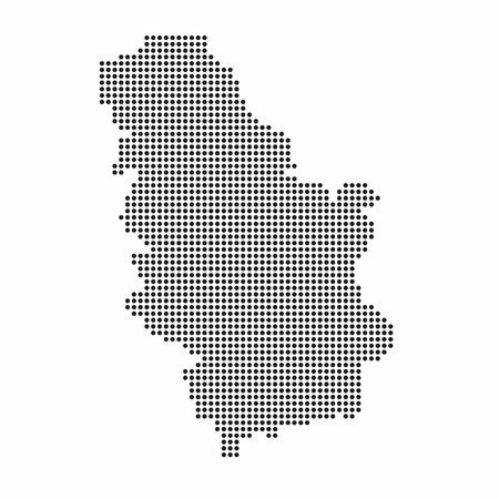 Serbia country map made from abstract halftone dot pattern Illustration