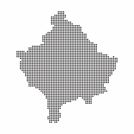 Kosovo country map made from abstract halftone dot pattern Illustration