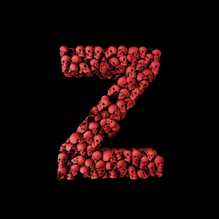 Letter Z red skull font. Type made from skulls. 3D Rendering Stock Photo
