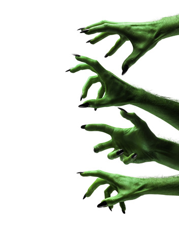Halloween green witches or zombie monster hands