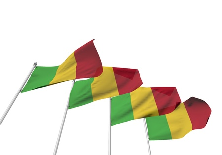 Mali flags in a row with a white background. 3D Rendering