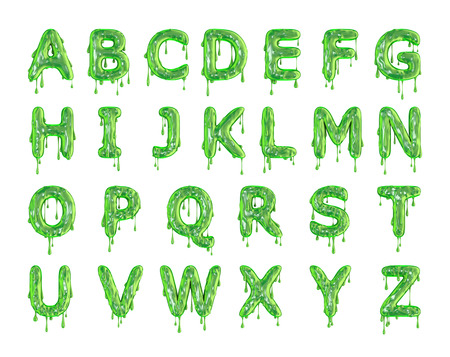 Green dripping slime halloween alphabet letters. 3D Rendering 스톡 콘텐츠