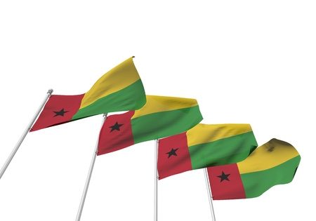 Guinea Bissau flags in a row with a white background. 3D Rendering