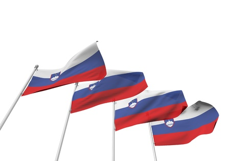 Slovenia flags in a row with a white background. 3D Rendering Stock Photo