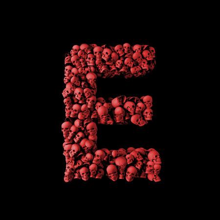 Letter E red skull font. Type made from skulls. 3D Rendering