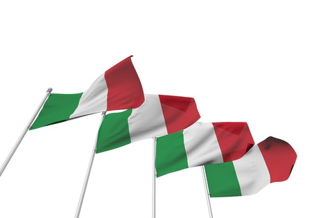 Italy flags in a row with a white background. 3D Rendering Stock Photo