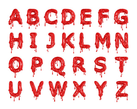 Red dripping blood halloween alphabet letters. 3D Rendering
