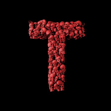 Letter T red skull font. Type made from skulls. 3D Rendering