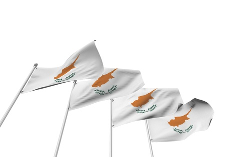 Cyprus flags in a row with a white background. 3D Rendering