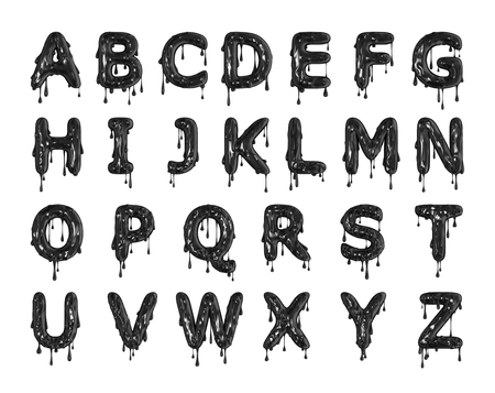Black dripping slime halloween alphabet letters. 3D Rendering