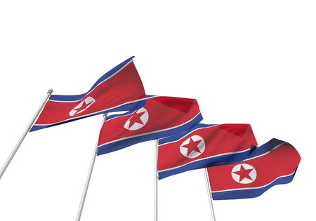 North Korea flags in a row with a white background. 3D Rendering Stock Photo