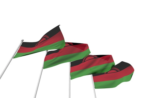 Malawi flags in a row with a white background. 3D Rendering