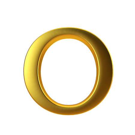 Shiny gold letter O on a plain white background. 3D Rendering