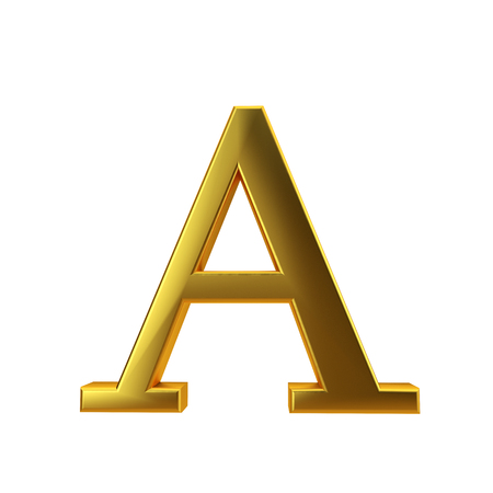 Shiny gold letter A on a plain white background. 3D Rendering