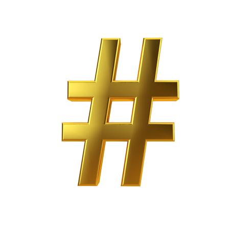 Shiny gold hashtag symbol on a plain white background. 3D Rendering 版權商用圖片
