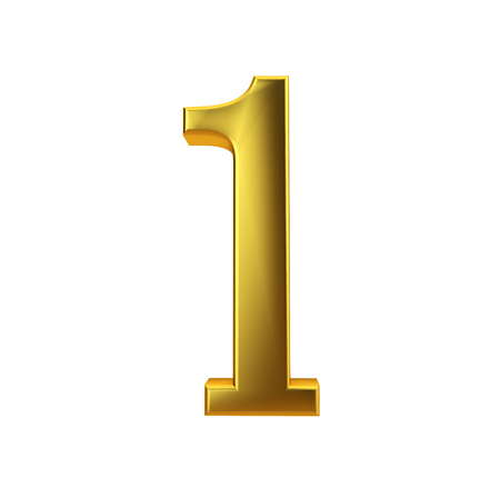 Shiny gold number 1 on a plain white background. 3D Rendering