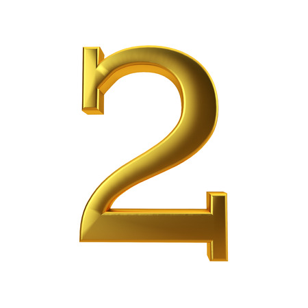 Shiny gold number 2 on a plain white background. 3D Rendering Stock Photo