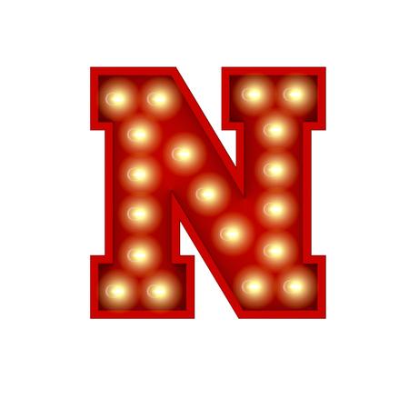 Vintage cinema theatre broadway lettering. Letter N. 3D Rendering