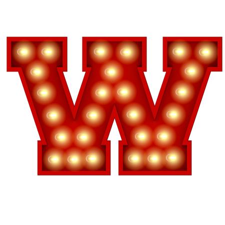 Vintage cinema theatre broadway lettering. Letter W. 3D Rendering