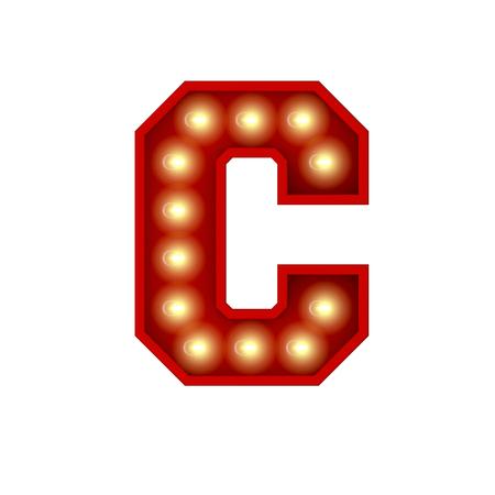 Vintage cinema theatre broadway lettering. Letter C. 3D Rendering Standard-Bild