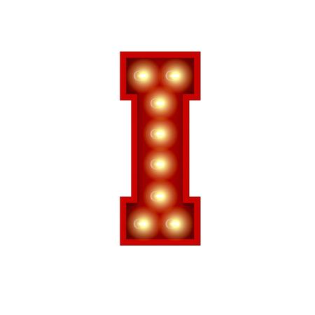 Vintage cinema theatre broadway lettering. Letter I. 3D Rendering Stok Fotoğraf