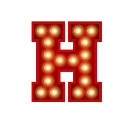 Vintage cinema theatre broadway lettering. Letter H. 3D Rendering