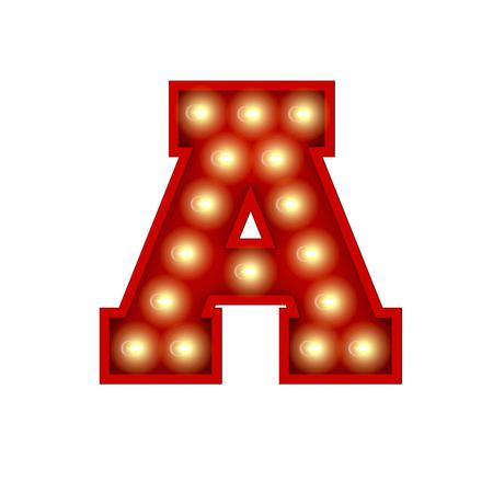 Vintage cinema theatre broadway lettering. Letter A. 3D Rendering Standard-Bild