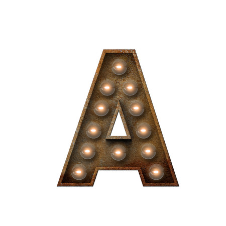 Rusted metal letter A light bulb font. 3D Rendering