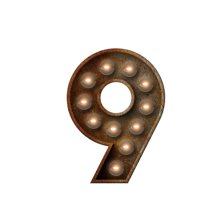Rusted metal number 9 light bulb font. 3D Rendering