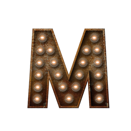 Rusted metal letter M light bulb font. 3D Rendering