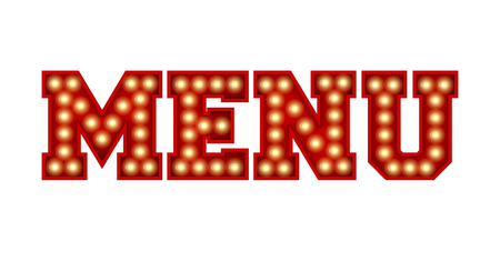 Menu word made from red vintage lightbulb lettering isolated on a white. 3D Rendering