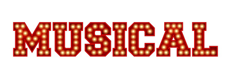 Musical word made from red vintage lightbulb lettering isolated on a white. 3D Rendering Archivio Fotografico