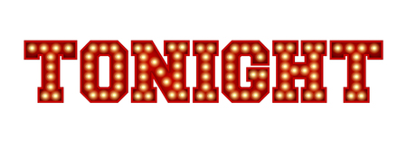 Tonight word made from red vintage lightbulb lettering isolated on a white. 3D Rendering