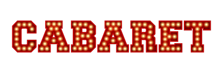 白に隔離された赤いヴィンテージ電球レタリングから作られたキャバレーの言葉。3D レンダリング 写真素材