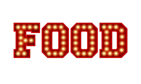 Food word made from red vintage lightbulb lettering isolated on a white. 3D Rendering