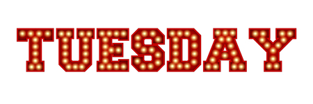 Tuesday word made from red vintage lightbulb lettering isolated on a white. 3D Rendering
